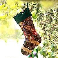 Batik cotton stocking, 'Parang Holiday' - Batik Cotton Stocking in Midnight from Bali
