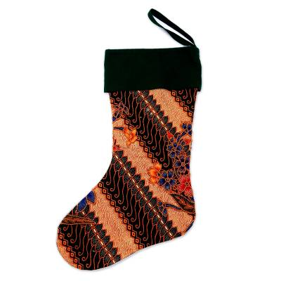 Batik Cotton Stocking in Midnight from Bali