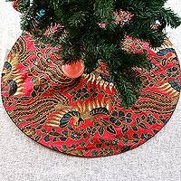 Beaded cotton tree skirt, 'Batik Christmas' - Batik Handmade Red Black and Gold Tree Skirt from Java