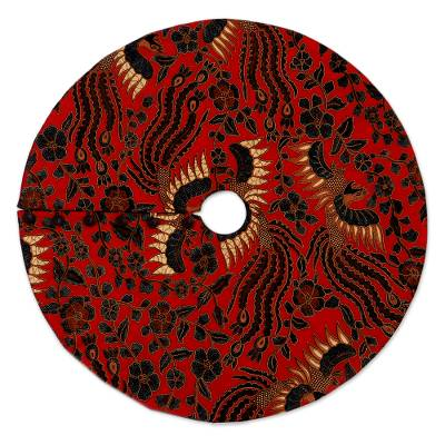 Batik Handmade Red Black and Gold Tree Skirt from Java