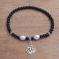 Onyx beaded stretch bracelet, 'Feminine Om' - Onyx Om Beaded Stretch Bracelet from Bali