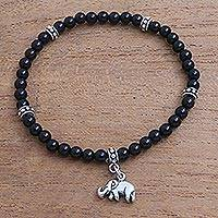 Onyx beaded stretch bracelet, 'Elephant Dangle' - Onyx Elephant Beaded Stretch Bracelet from Bali