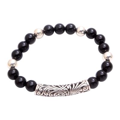 Onyx Beaded Stretch Pendant Bracelet from Bali