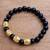 Men's gold accented onyx beaded stretch bracelet, 'Batur Heritage' - Men's Gold Accented Onyx Beaded Stretch Bracelet from Bali (image 2b) thumbail