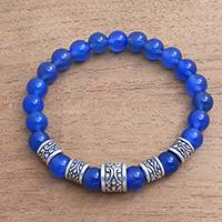 Agate beaded stretch bracelet, 'Complete' - Blue Agate Beaded Stretch Bracelet from Bali
