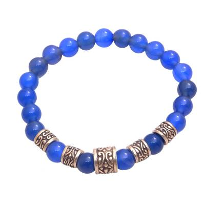 Blue Agate Beaded Stretch Bracelet from Bali