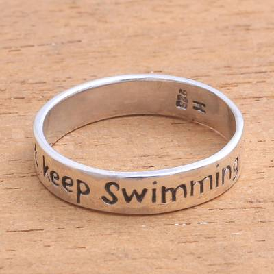 Sterling silver band ring, 'Just Keep Swimming' - Inspirational Sterling Silver Band Ring from Bali