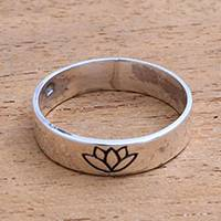 Sterling silver band ring, 'Single Lotus' - Lotus Flower Sterling Silver Band Ring from Bali