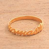 Gold plated sterling silver band ring, 'Namaste' - Gold Plated Sterling Silver Namaste Band Ring from Bali