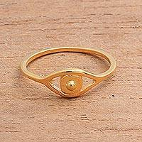 Gold plated sterling silver band ring, 'Gleaming Eye' - Gold Plated Sterling Silver Eye Band Ring from Bali