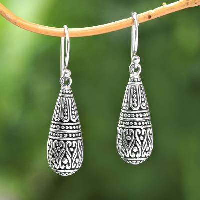 Sterling silver dangle earrings, 'Dragon Tears' - Drop-Shaped Sterling Silver Dangle Earrings from Bali