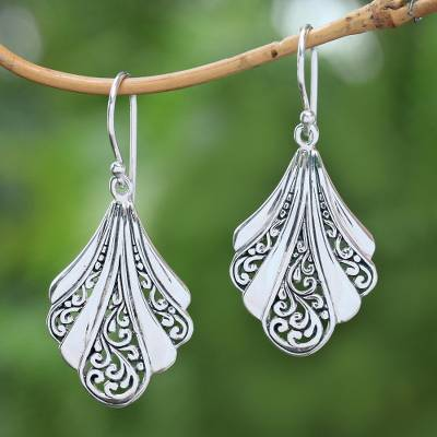 Sterling silver dangle earrings, 'Vine Shells' - Sterling Silver Shell Dangle Earrings from Bali