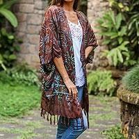 Batik rayon kimono jacket, 'Denpasar Lady in Brown' - Leaf Motif Batik Rayon Kimono Jacket in Brown from Bali