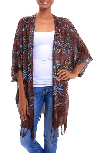 Leaf Motif Batik Rayon Kimono Jacket in Brown from Bali