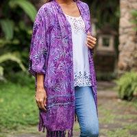 Batik rayon kimono jacket,