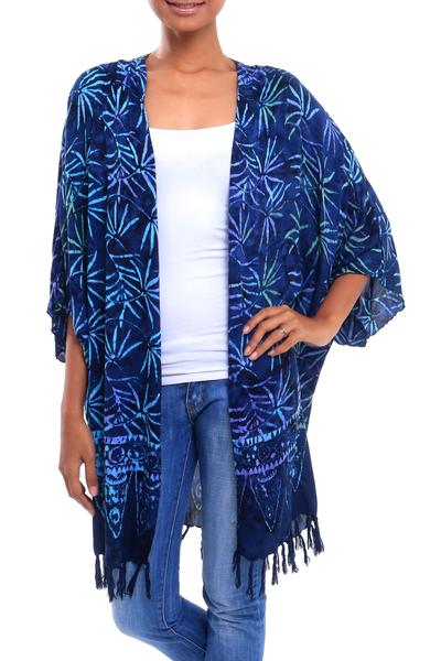 Leaf Motif Batik Rayon Kimono Jacket in Blue from Bali