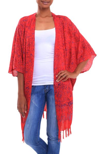 Floral Batik Rayon Kimono Jacket in Poppy from Bali