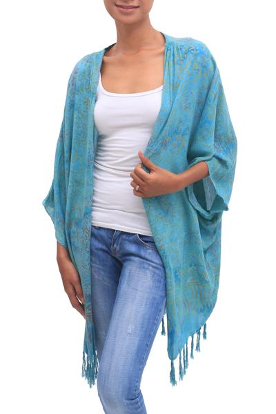 Batik Rayon Kimono Jacket in Blue from Bali