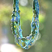 Batik cotton strand necklace, 'Javanese Waters' - Batik Cotton Strand Necklace in Blue and Green from Java