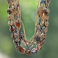 Batik cotton strand necklace,
