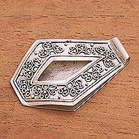 Sterling silver money clip, 'Serene Swirls' - Artisan Crafted Sterling Silver Floral Money Clip from Bali