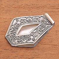 Sterling silver money clip, 'Balinese Fountain' - Artisan Crafted Sterling Silver Balinese Money Clip