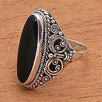 Onyx cocktail ring, 'Quiet Night' - Sterling Silver Ornate Oblong Black Onyx Cocktail Ring