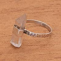 Quartz cocktail ring, 'Crystal Prism' - Sterling Silver Clear Quartz Crystal Cocktail Necklace