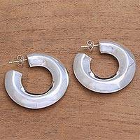 Sterling silver half-hoop earrings, 'Curving Pillars' - Modern Sterling Silver Half-Hoop Earrings from Bali