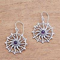 Amethyst dangle earrings, 'Regal Rays' - Sun Motif Amethyst Dangle Earrings from Bali