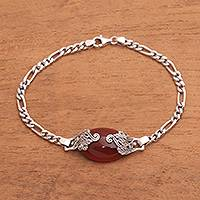 Carnelian pendant bracelet, 'Growing in the Morning' - Carnelian Pendant Bracelet from Bali