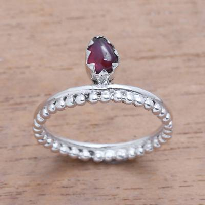 Garnet band ring, 'Lovely Serenity' - Dot Motif Garnet Band Ring Crafted in Bali