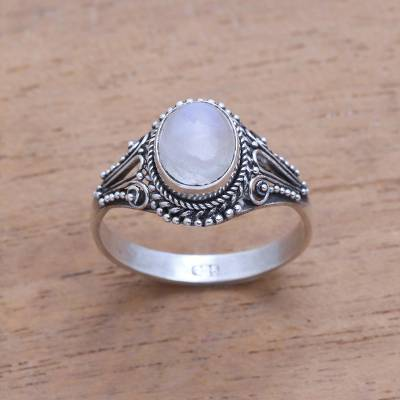 Rainbow moonstone single-stone ring, 'Princess Gem' - Handmade Rainbow Moonstone Single-Stone Ring from Bali