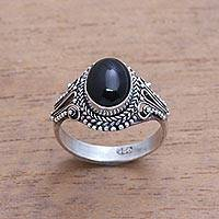 Onyx single-stone ring, 'Princess Gem' - Handmade Onyx Single-Stone Ring from Bali