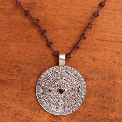Amethyst pendant necklace, 'Purple Shield' - Amethyst and Sterling Silver Pendant Necklace from Bali