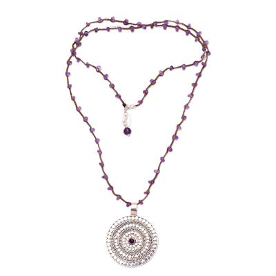 Amethyst and Sterling Silver Pendant Necklace from Bali