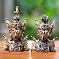 Wood sculptures, 'Hindu Lovers' (pair) - Hand-Carved Rama and Sita Sculptures from Indonesia (Pair)