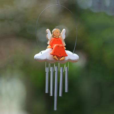 Wood wind chime, 'Angel Tune in Orange' - Angel-Themed Wood Wind Chime in Orange from Bali