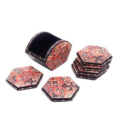 Red Black Beige Batik Kirno Monda Wood Coasters (Set of 6)