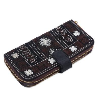 Embroidered Handwoven Brown Cotton Floral Clutch