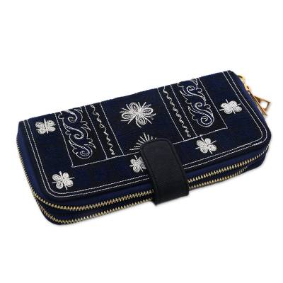 Navy Blue Handwoven Embroidered Cotton Floral Clutch
