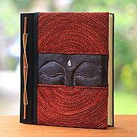 Wood and natural fiber photo album, 'Buddha's Eyes in Red' - Buddha-Themed Wood and Natural Fiber Photo Album in Red