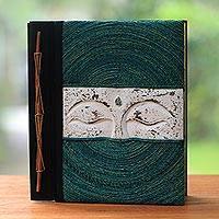 Wood and natural fiber photo album, 'Buddha's Eyes in Green' - Buddha-Themed Wood and Natural Fiber Photo Album in Green