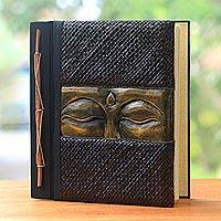 Wood and natural fiber photo album, 'Sight of Buddha in Gold' - Buddha-Themed Wood and Natural Fiber Photo Album in Gold