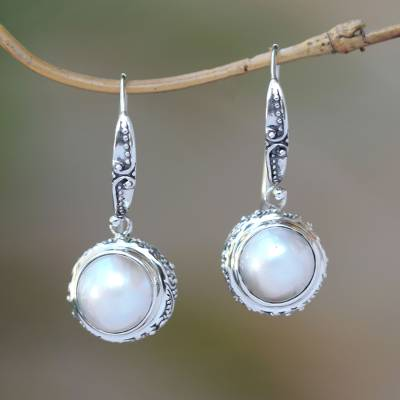Cultured pearl dangle earrings, 'Temple in Moonlight' - Sterling Silver and White Cultured Pearl Dangle Earrings