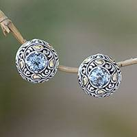 Gold accent blue topaz button earrings, 'Flashing Stars' - Bali Gold Accent Sterling Silver Blue Topaz Button Earrings