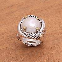 Gold accented cultured pearl cocktail ring, 'Serpent Embrace' - Sterling Silver Gold Accent Serpent Theme Cocktail Ring