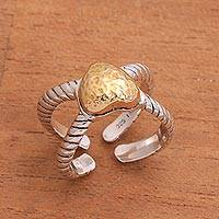 Gold accent sterling silver wrap ring, 'Brighter Love' - Sterling Silver Hammered Gold Accent Heart Wrap Ring
