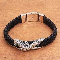 Men's leather braided bracelet, 'Never Ending Dragon' - Sterling Silver and Black Leather Dragon Braided Bracelet