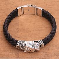 Men's leather braided bracelet, 'Panther Palace' - Men's Leather and Sterling Silver Panther Braided Bracelet